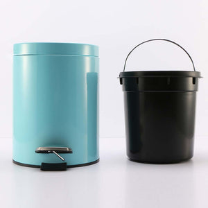 SOGA 4X Foot Pedal Stainless Steel Rubbish Recycling Garbage Waste Trash Bin Round 7L Blue
