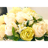 SOGA 3pcs Artificial Silk with 15 Heads Flower Fake Rose Bouquet Table Decor White