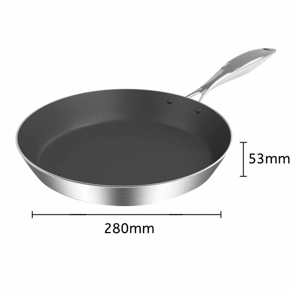 SOGA Stainless Steel Fry Pan 28cm Frying Pan Induction FryPan Non Stick Interior