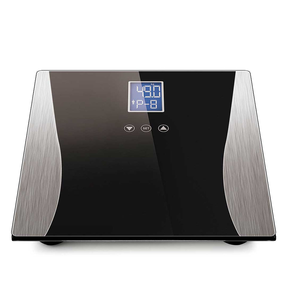 SOGA 2x Digital Body Fat Scale Bathroom Weight Gym Glass Water LCD Electronic Black