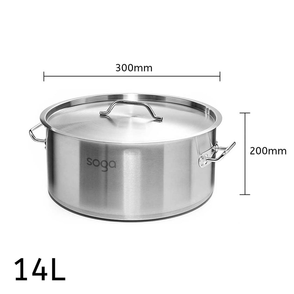 SOGA Stock Pot 14Lt Top Grade Thick Stainless Steel Stockpot 18/10