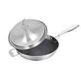 SOGA 2X 18/10 Stainless Steel Fry Pan 34cm Frying Pan Top Grade Textured Non Stick Interior Skillet with Helper Handle and Lid