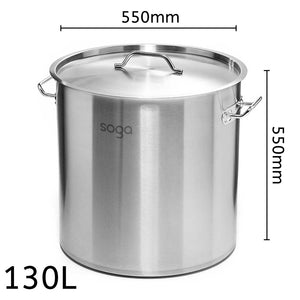 SOGA Stock Pot 130L Top Grade Thick Stainless Steel Stockpot 18/10