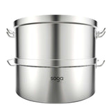 SOGA 2X Commercial 304 Stainless Steel Steamer With 2 Tiers Top Food Grade 50*30cm