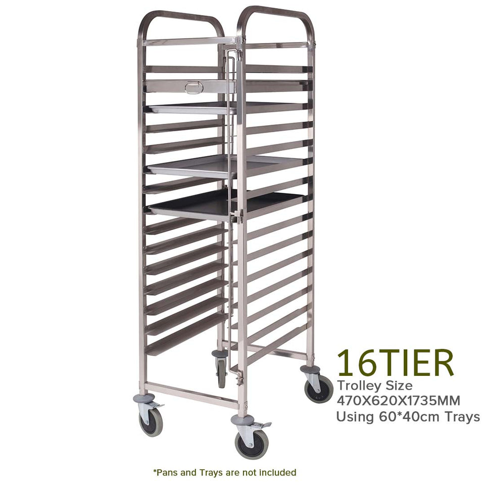 SOGA Gastronorm Trolley 16 Tier Stainless Steel Cake Bakery Trolley Suits 60*40cm Tray
