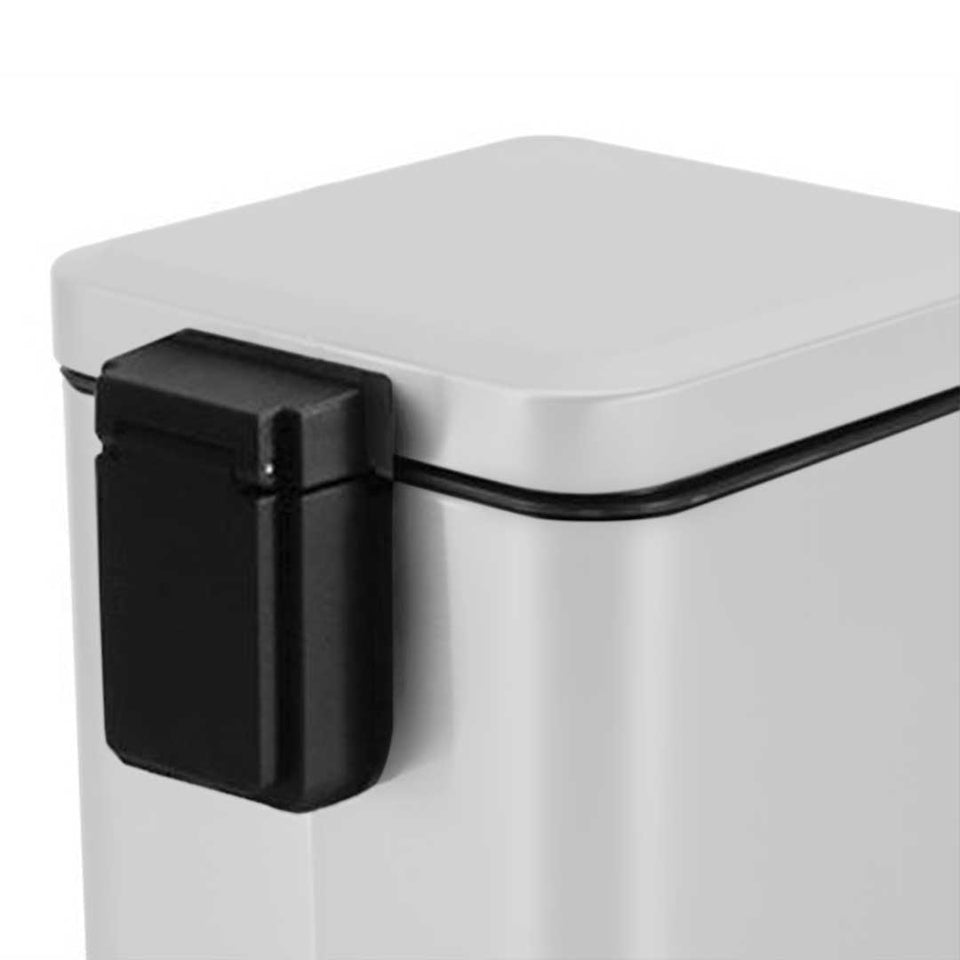 SOGA 2X Foot Pedal Stainless Steel Rubbish Recycling Garbage Waste Trash Bin Square 12L White