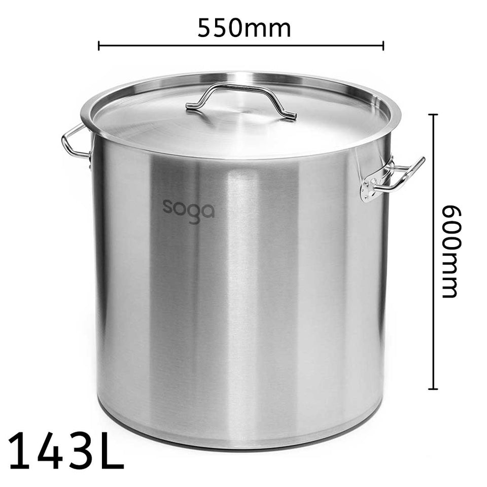 SOGA Stock Pot 143Lt Top Grade Thick Stainless Steel Stockpot 18/10