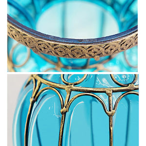 SOGA Blue Colored European Glass Floor Home Decor Flower Vase with Metal Stand