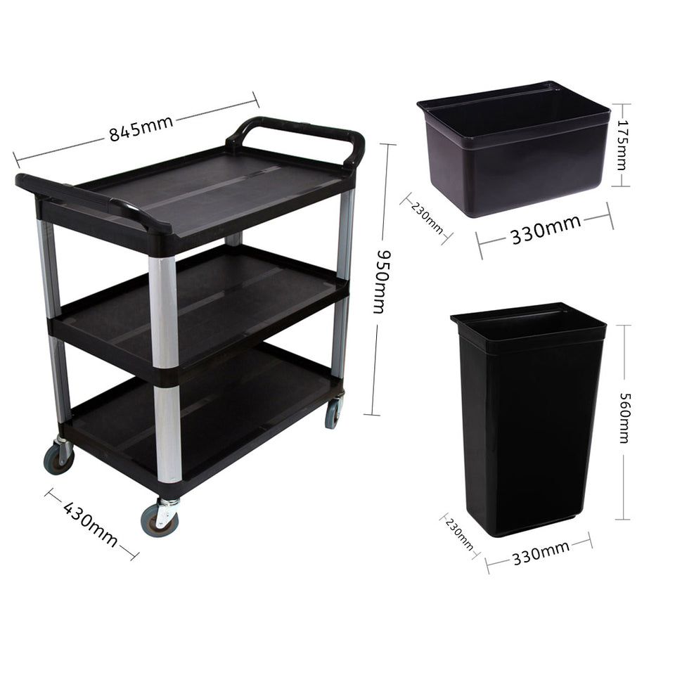 SOGA 3 Tier Food Trolley Food Waste Cart With Two Bins Storage Kitchen Black 83x43x95cm Small