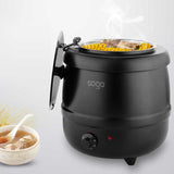 SOGA 2X 10L Soup Kettle Commercial Soup Pot Electric Soup Maker Black