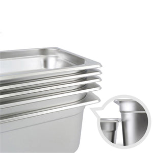 SOGA 4X Gastronorm GN Pan Full Size 1/3 GN Pan 6.5 cm Deep Stainless Steel Tray with Lid