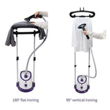 SOGA Garment Steamer Vertical Twin Pole Clothes 1700ml 1800w Professional Steaming Kit Purple
