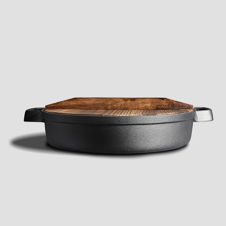 SOGA 33cm Round Cast Iron Pre-seasoned Deep Baking Pizza Frying Pan Skillet with Wooden Lid
