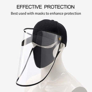 2X Outdoor Protection Hat Anti-Fog Pollution Dust Saliva Protective Cap Full Face HD Shield Cover Adult Black/White