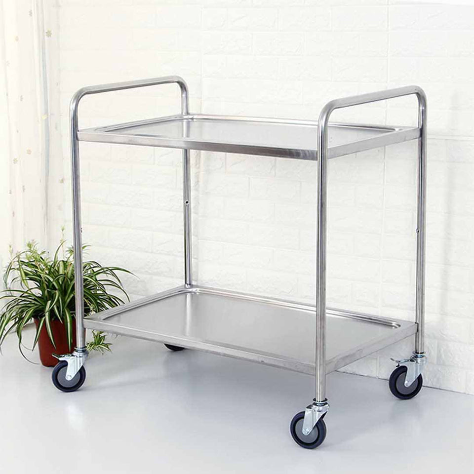 SOGA Stainless Steel Kitchen Trolley Cart 2 Tiers Dining Food Utility 86*54*94cm R