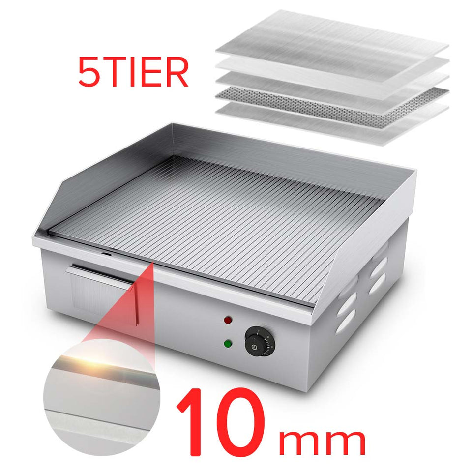 SOGA 2X Electric Stainless Steel Ribbed Griddle Commercial Grill BBQ Hot Plate