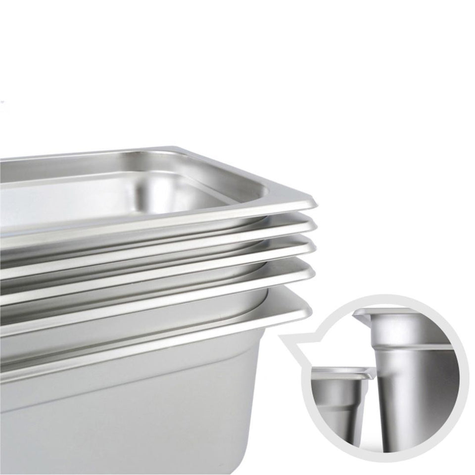 SOGA 4X Gastronorm GN Pan Full Size 1/3 GN Pan 15cm Deep Stainless Steel Tray