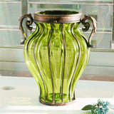 SOGA Green Colored Glass Flower Vase with 10 Bunch 6 Heads Artificial Fake Silk Rose Home Decor Set