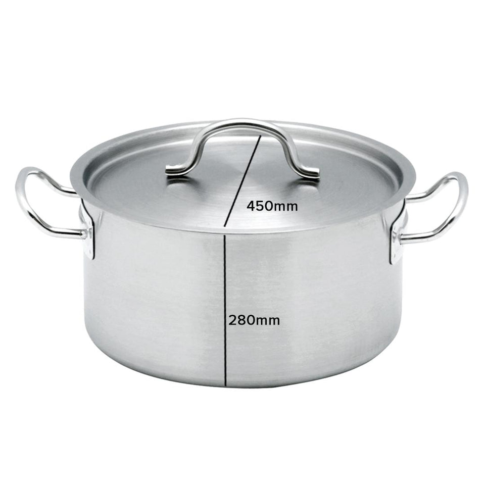 SOGA Stock Pot 44Lt Top Grade Thick Stainless Steel Stockpot 18/10