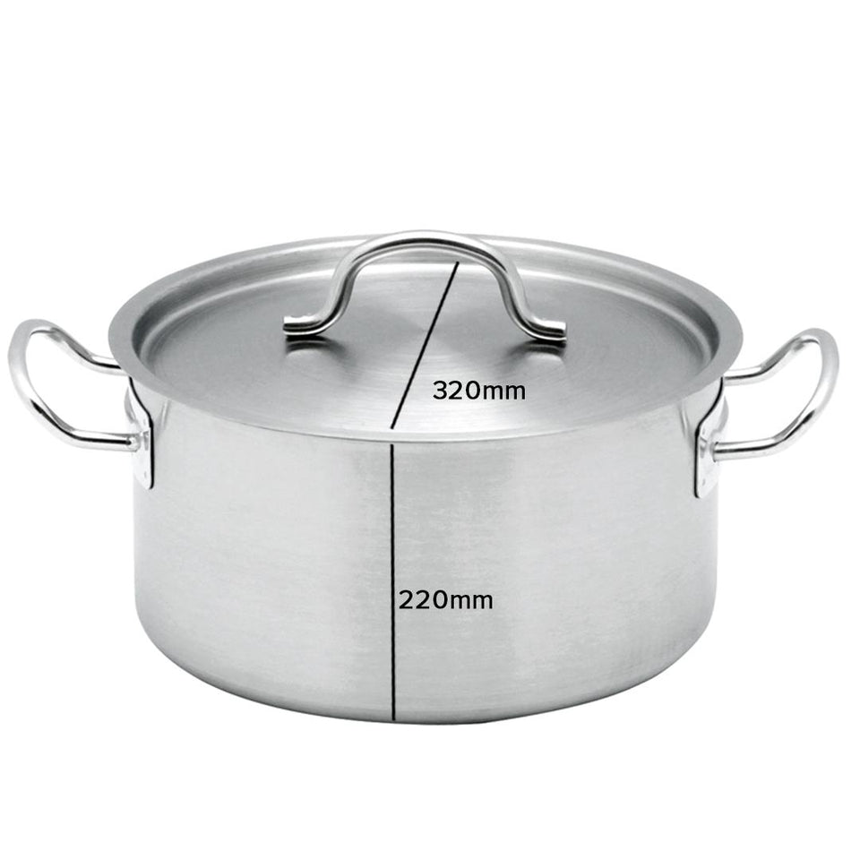 SOGA Stock Pot 17Lt Top Grade Thick Stainless Steel Stockpot 18/10