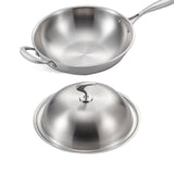 SOGA 18/10 Stainless Steel Fry Pan 36cm Frying Pan Top Grade Skillet with Helper Handle and Lid