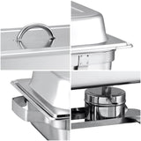 SOGA Stainless Steel Chafing Food Warmer Catering Dish 9L Full Size