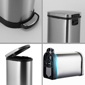SOGA Foot Pedal Stainless Steel Rubbish Recycling Garbage Waste Trash Bin 10L U