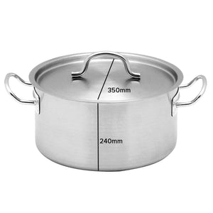 SOGA Stock Pot 23Lt Top Grade Thick Stainless Steel Stockpot 18/10