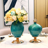 SOGA 42cm Ceramic Oval Flower Vase with Gold Metal Base Green