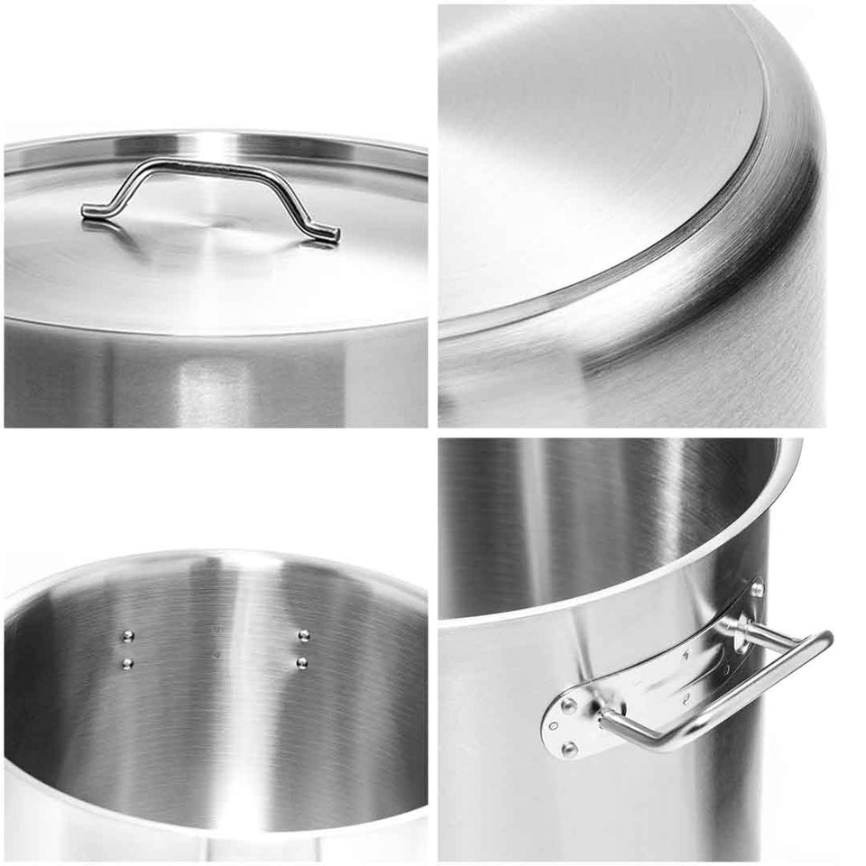 SOGA Stock Pot 17L Top Grade Thick Stainless Steel Stockpot 18/10