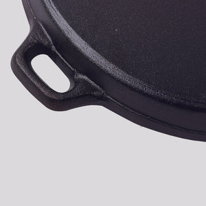 SOGA 2X 34cm Round Ribbed Cast Iron Frying Pan Skillet Steak Sizzle Platter with Handle
