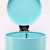 SOGA 7L Modern Foot Pedal Trash Bin Waste Kitchen Bathroom Stainless Steel Round Blue