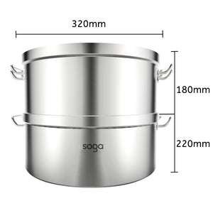 SOGA Commercial 304 Stainless Steel Steamer With 2 Tiers Top Food Grade 32*22cm