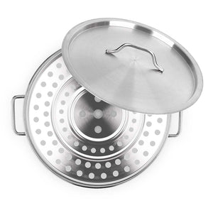 SOGA 40cm Stainless Steel Stock Pot with One Steamer Rack Insert Stockpot Tray