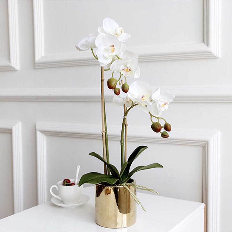 SOGA White Artificial Fake Orchid Flower in Copper Metal Vase Set