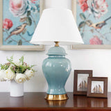 SOGA Oval Ceramic Table Lamp with Gold Metal Base Desk Lamp Blue