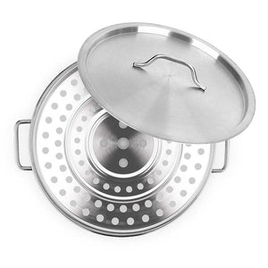 SOGA 35cm Stainless Steel Stock Pot with One Steamer Rack Insert Stockpot Tray