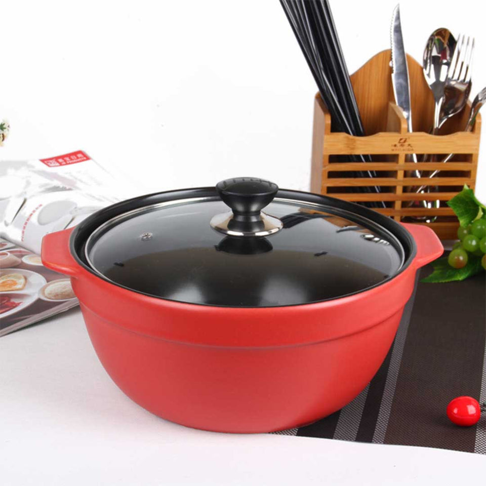 3.5L Ceramic Casserole Stew Cooking Pot with Glass Lid Red