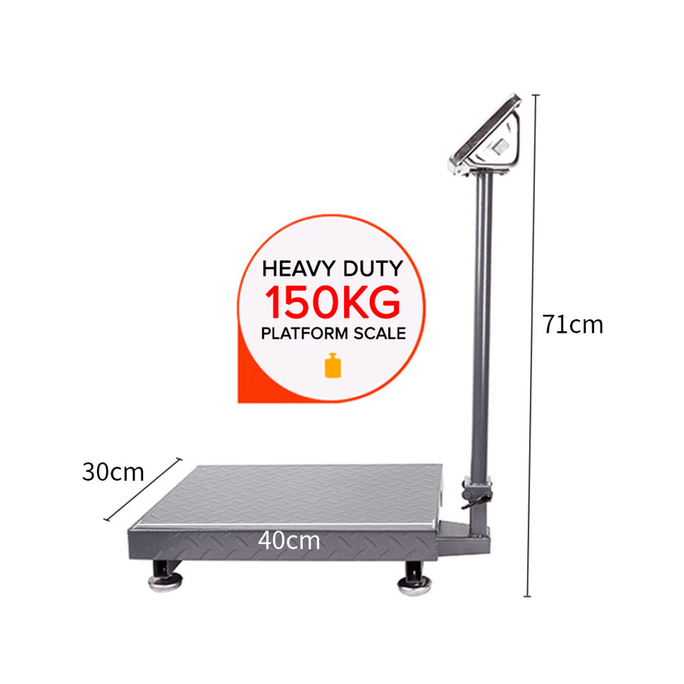 SOGA 2X 150kg Electronic Digital Platform Scale Computing Shop Postal Weight Black