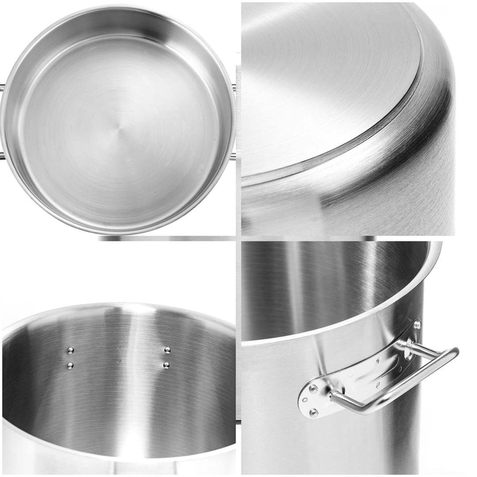 SOGA Stock Pot 225L Top Grade Thick Stainless Steel Stockpot 18/10 Without Lid