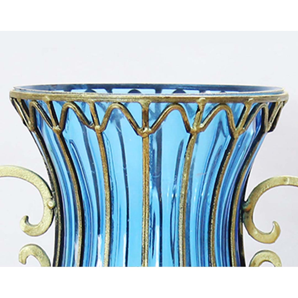 SOGA 50cm Blue Glass Oval Floor Vase with Metal Flower Stand