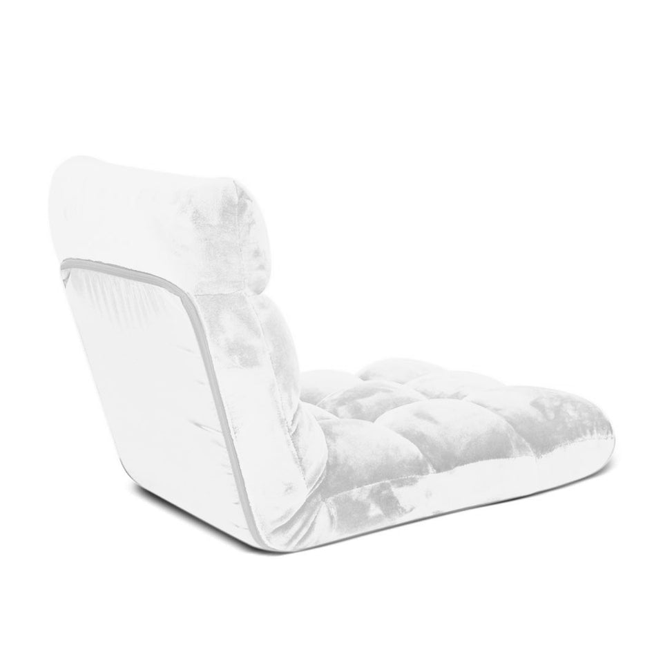 SOGA Floor Recliner Folding Lounge Sofa Futon Couch Folding Chair Cushion White