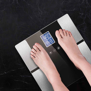 SOGA Glass Digital Body Fat Scale Bathroom Scales Weight Gym Glass Water LCD Electronic