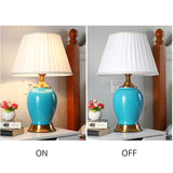 SOGA 2X Ceramic Oval Table Lamp with Gold Metal Base Desk Lamp Blue