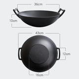 SOGA 36CM Commercial Cast Iron Wok FryPan with Wooden Lid Non-Stick Fry Pan