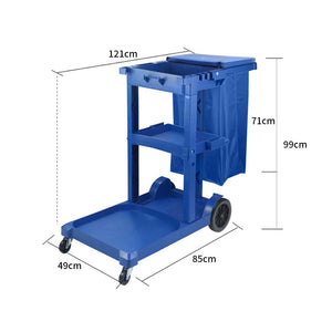 SOGA 3 Tier Multifunction Janitor Cleaning Waste Cart Trolley and Waterproof Bag with Lid Blue