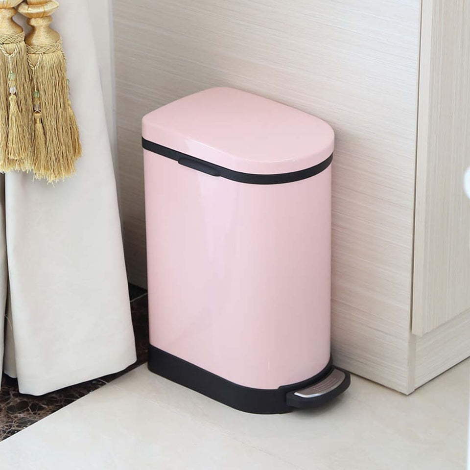 SOGA 2X Foot Pedal Stainless Steel Rubbish Recycling Garbage Waste Trash Bin 10L U Pink