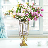 SOGA Clear Glass Cylinder Flower Vase with 6 Bunch 4 Heads Artificial Fake Silk Magnolia denudata Home Decor Set