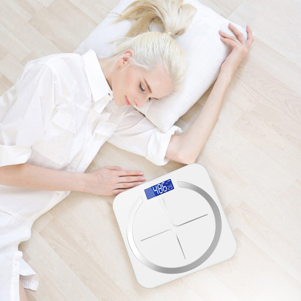 SOGA 180kg Digital Fitness Weight Bathroom Body Glass LCD Electronic Scales White