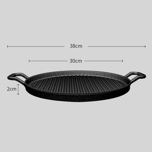 SOGA 2X 30cm Ribbed Cast Iron Frying Pan Skillet Coating Steak Sizzle Platter